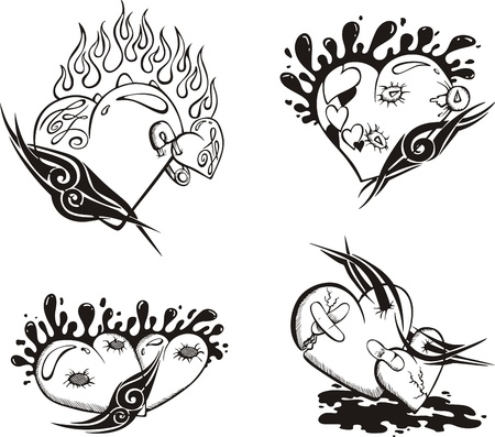 Stylized Tattoos with Hearts  Stock Vector - 14176506
