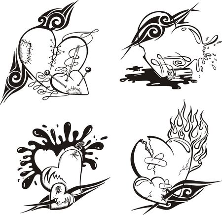 Stylized Tattoos with Hearts. Set of black and white vector illustrations. Stock Vector - 14176486