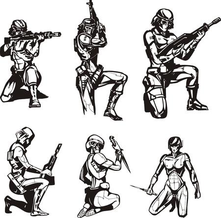 biomechanics: Amazon Cyborgs. Set of black and white vector illustrations.