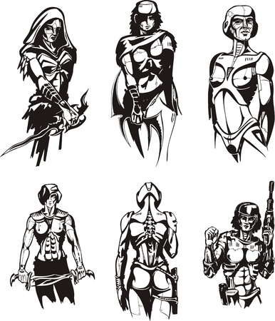 biomechanics: Amazon Cyborgs. Set of black and white vector illustrations.
