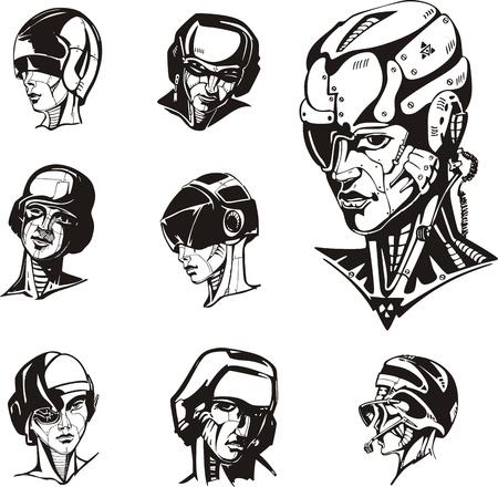 biomechanics: Heads of cyborg women.  Illustration