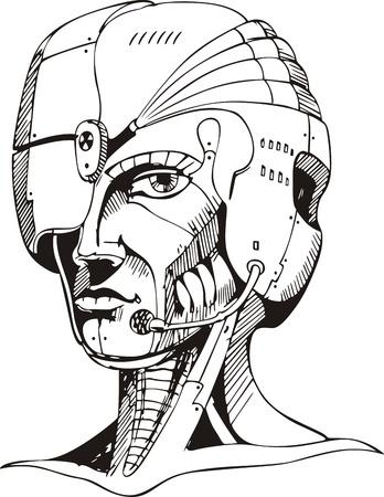 cyborg: Cabeza de mujer cyborg.