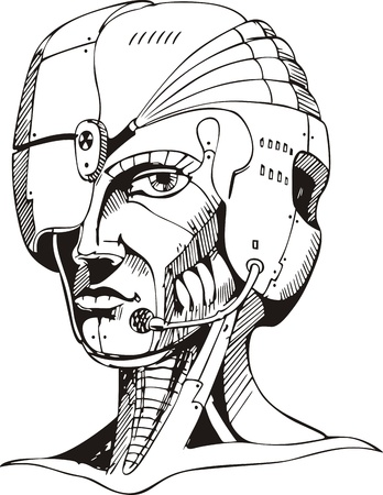 biomechanics: Head of cyborg woman.