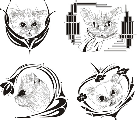 framed cat sketches royalty free cliparts vectors and stock