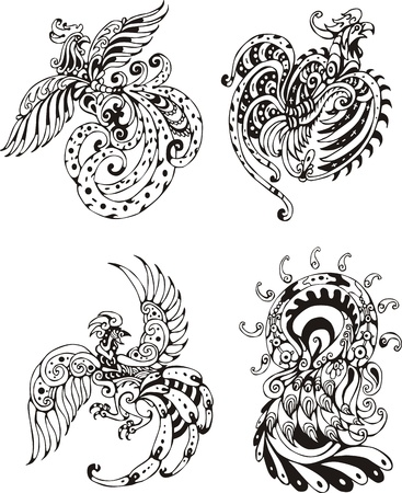 Stylized roosters.  Vector