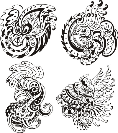 Stylized roosters. Set of black and white vector illustrations. Vector