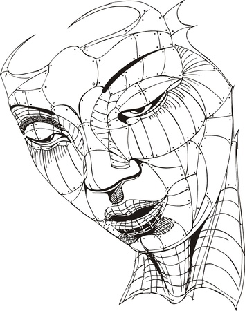 biomechanics: Wireframe Woman Face.