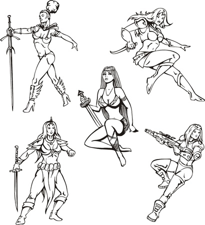 Armed Amazon Girls. Set of black and white illustrations. Vector