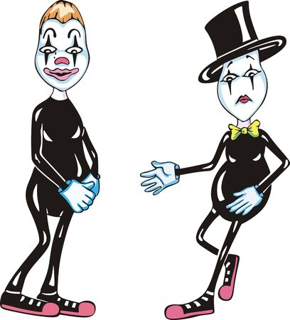 theater man: Two funny mimes. Set of color  illustrations