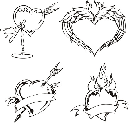 Love designs with hearts. Set of black and white illustrations. Vector
