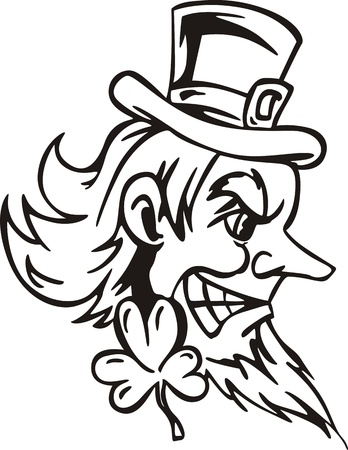 Head of Leprechaun. Black and white  illustration. Vector