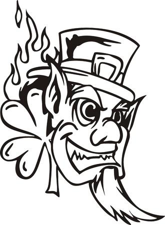 Head of Leprechaun. Black and white  illustration. Stock Vector - 14744366