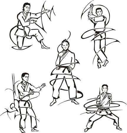 wushu: Martial art lessons. Set of black and white illustrations. Illustration
