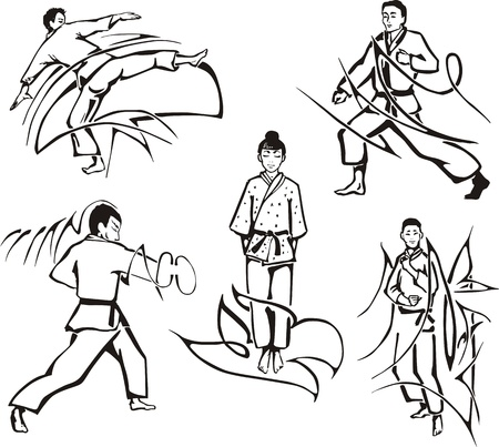 karateka: Martial art lessons. Set of black and white  illustrations.