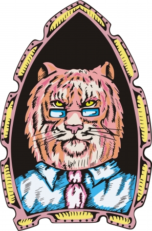 Portrait of tiger boss. Color  illustration. Vector