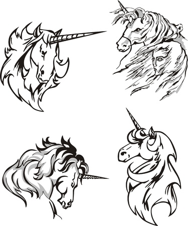 Four unicorn sketches. Set of illustrations. Vector