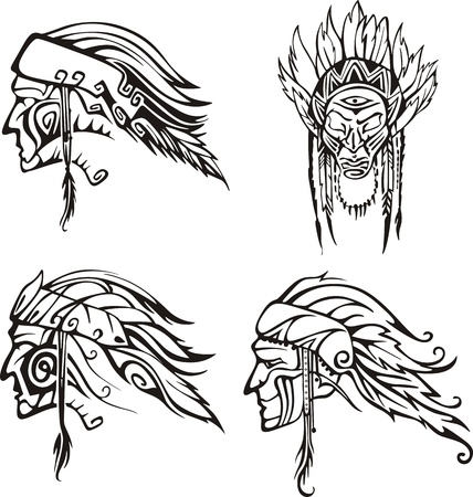 Amerindian Heads. Set of black and white vector illustrations. Vector