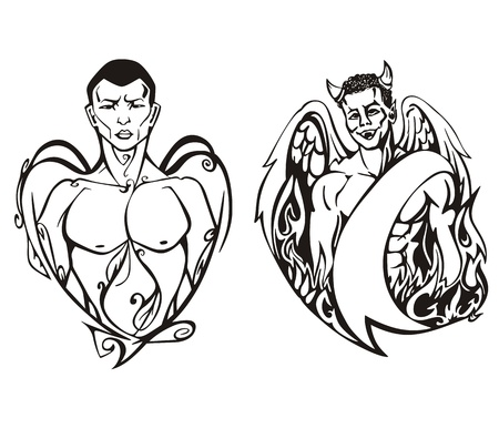 Angel and devil. Set of black and white  illustrations. Concept of the struggle between good and evil.