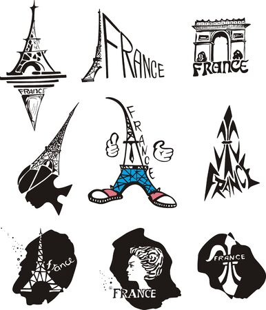 Set of original logos for travel to Paris and France. Black and white  illustration. Vector