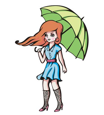 Young girl with umbrella. Color illustration. Vector