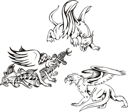 Three griffins. Set of black and white vector illustrations. Stock Vector - 14744491