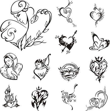 Stylized heart designs. Set of black and white  illustrations. Vector