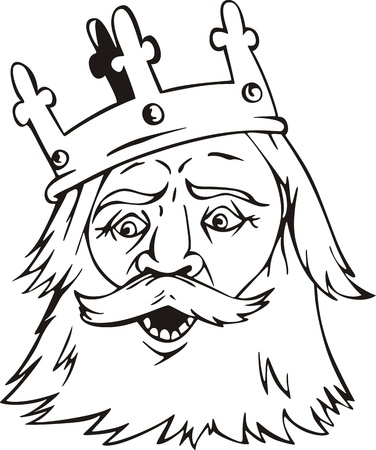 Head of a king. Black and white vector illustration. Vector