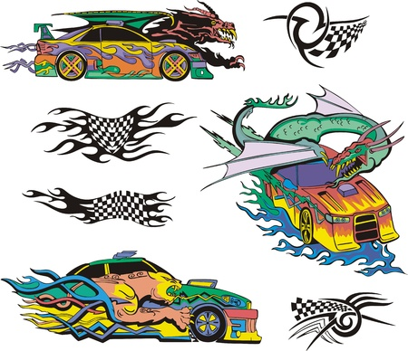 Monsters and racing cars. Set of color and blackwhite  illustrations. Vector
