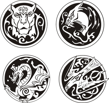 Stylized round animal designs. Set of black and white illustrations. Vector
