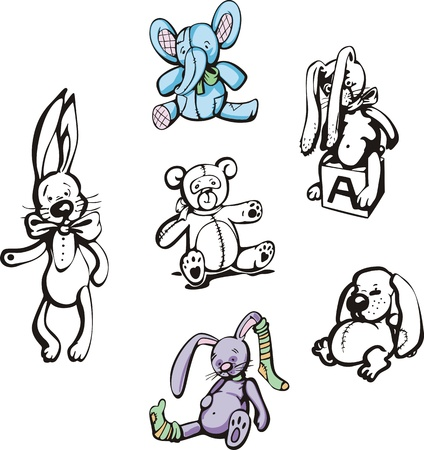 Soft childs toys. Set of color and blackwhite illustrations.