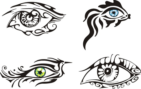 Stylized ornamental eyes. Set of color and blackwhite illustrations. Vector