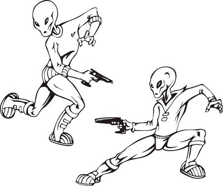 ufology: Due umanoidi con artificieri. Set di illustrazioni in bianco e nero. Vettoriali
