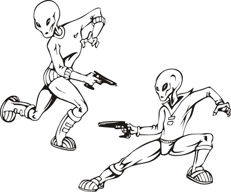 ufology: Two humanoids with blasters. Set of black and white  illustrations.
