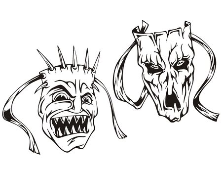 Horror masks. Set of black and white vector illustrations. Stock Vector - 14744542