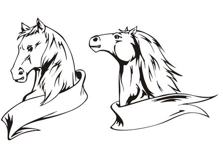 Horses with ribbons. Set of black and white vector illustrations. Vector