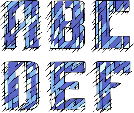 Set of initial letters ABCDEF. Color vector illustrations. Vector