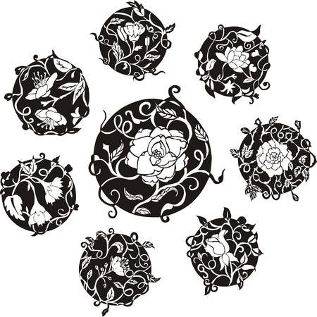 Round decorative flower dingbat designs. Set of black and white vector illustrations. Vector