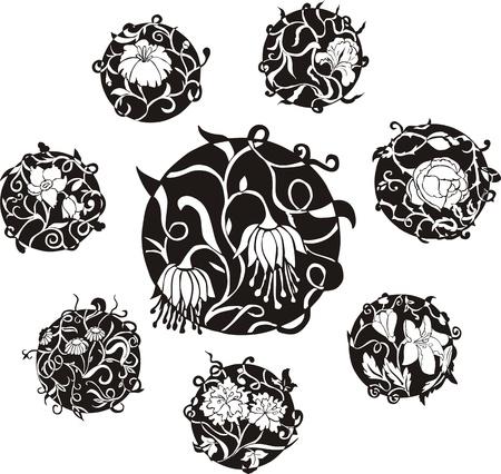 円形の装飾花とんちきデザイン。黒と白のベクトル イラストのセットです。