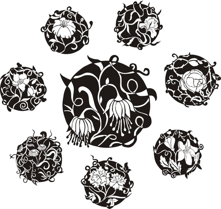 dingbat: Round decorative flower dingbat designs. Set of black and white vector illustrations.