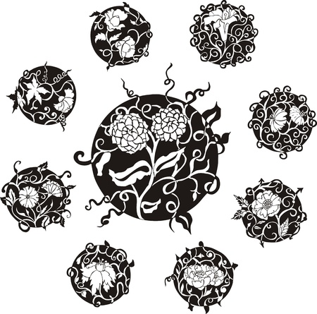Round decorative flower dingbat designs. Set of black and white vector illustrations. Stock Vector - 14744724
