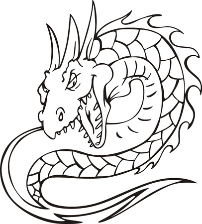 Dragon serpent. Black and white vector illustration. Stock Vector - 14744536