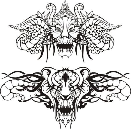 Symmetric animal tattoos. Set of black and white vector illustrations.
