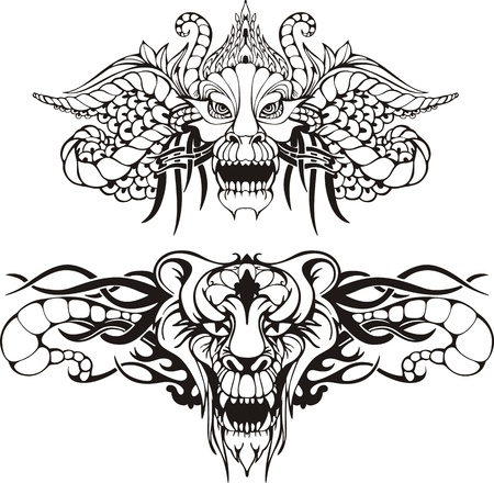 Symmetric animal tattoos. Set of black and white vector illustrations.