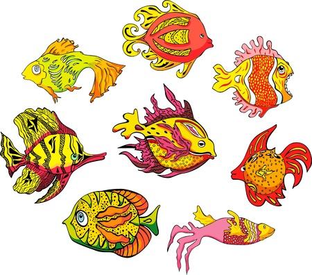 motley: Motley pesci tropicali. Set di illustrazioni a colori.