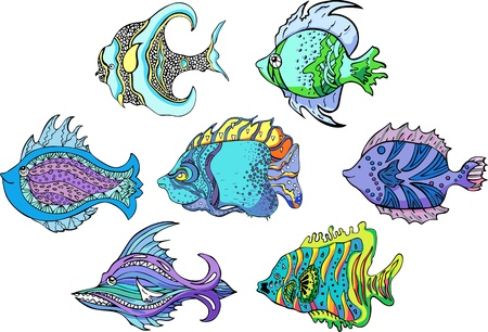 Motley tropical fish. Set of color vector illustrations. Stock Vector - 14744731