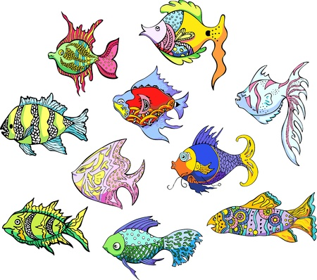 aquarian: Motley tropical fish. Set of color vector illustrations.