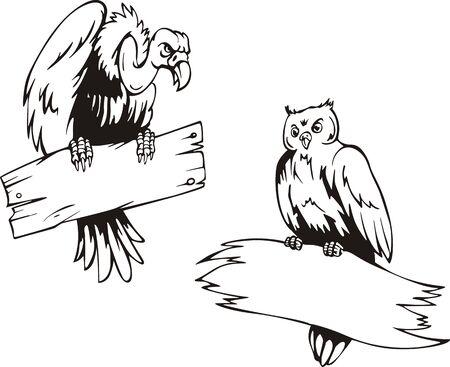 Buitre y la lechuza, de tablas. Conjunto de ilustraciones del vector blanco y negro.