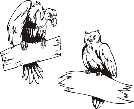 Vulture and owl with boards. Set of black and white vector illustrations. Vector