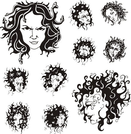 medusa: Medusa faces  Set of black and white  illustrations  Illustration