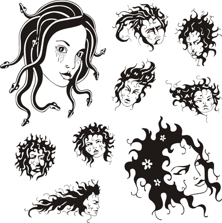 Medusa faces  Set of black and white  illustrations  Vector
